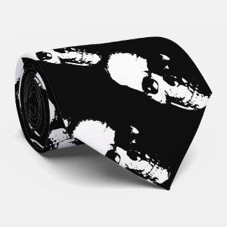 Skulls black and white Halloween Tie