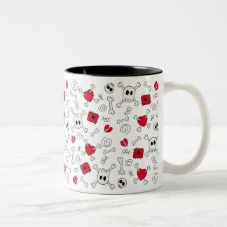 Skulls Bones Broken Heart mug