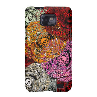 Skulls Bones Colorful Flowers Roses Bouquet Galaxy S2 Covers
