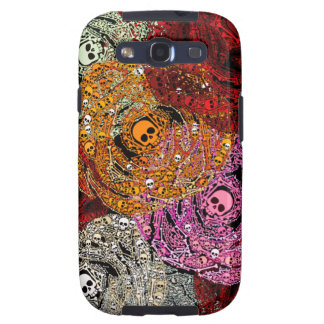 Skulls Bones Colorful Flowers Roses Bouquet Samsung Galaxy S3 Cases