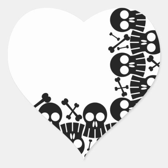 skulls & bones Heart Stickers