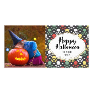 Skulls & Crossbones Halloween Picture Photo Card