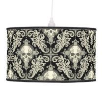 Skulls & Crosses Black and Cream Damask Pattern Hanging Lamp
