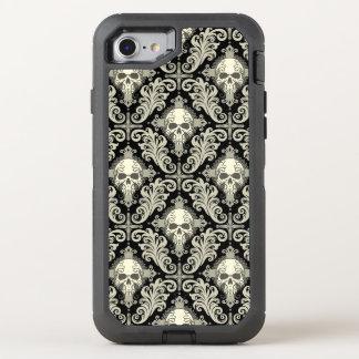 Skulls & Crosses Black and Cream Damask Pattern OtterBox Defender iPhone 7 Case
