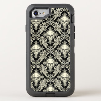 Skulls & Crosses Black and Cream Damask Pattern OtterBox Defender iPhone 8/7 Case