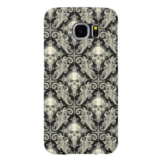 Skulls & Crosses Black and Cream Damask Pattern Samsung Galaxy S6 Case