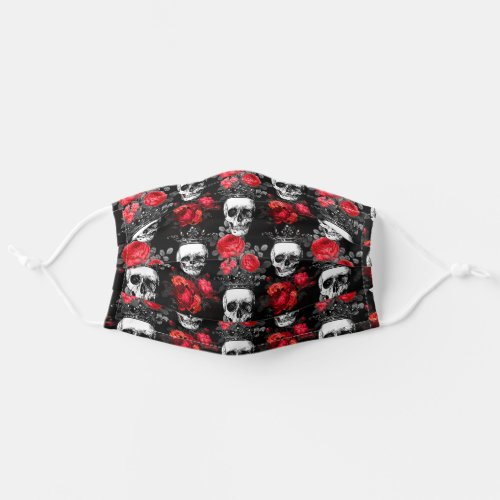 Skulls crowns and faded red roses on black cloth face mask