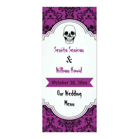Skulls damask black, purple wedding menu card