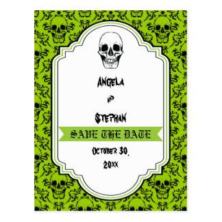 Skulls damask green black Halloween Save the Date Postcard