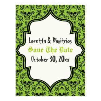 Skulls damask green, black Halloween Save the Date Postcard
