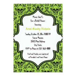 Skulls damask Halloween wedding bridal shower 5x7 Paper Invitation Card