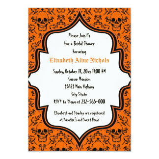 Skulls damask Halloween wedding bridal shower Card