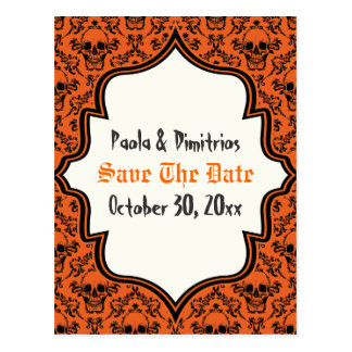 Skulls damask orange black Halloween Save the Date Postcard