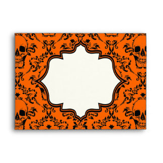 Skulls damask orange black Halloween wedding Envelope