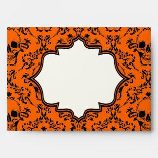 Skulls damask orange black Halloween wedding Envelope