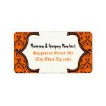 Skulls damask orange black Halloween wedding Personalized Address Labels