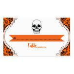 Skulls damask orange, black wedding place card business card templates