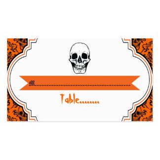 Skulls damask orange, black wedding place card Double-Sided standard business cards (Pack of 100)
