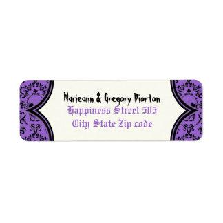 Skulls damask purple black Halloween wedding Label