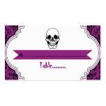 Skulls damask purple, black wedding place card business card