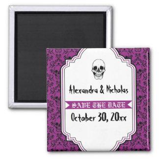 Skulls damask purple, black wedding Save the Date Magnet