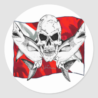 Skulls Dive Collectioin Classic Round Sticker