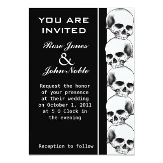 Skulls Ebony (Black) Wedding Invitation