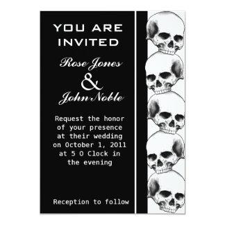 Skulls Ebony (Black) Wedding Invitation