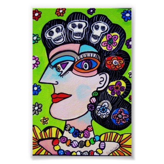 Skulls & Flowers Mexican Woman Poster