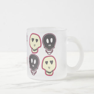 skulls frosted glass coffee mug