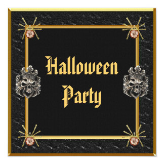 Skulls & Gold Spider Jewels Halloween Party Card