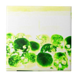 Skulls Green & Yellow Small Square Tile