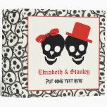 Skulls Halloween black red wedding binder 3 Ring Binders