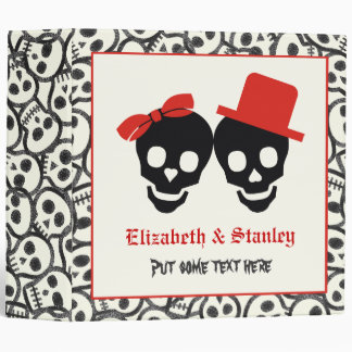 Skulls Halloween black red wedding binder
