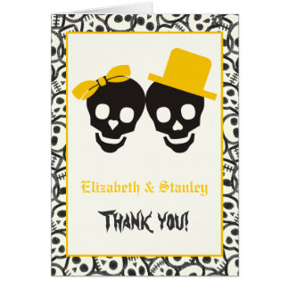 Skulls Halloween black yellow wedding Thank You Card