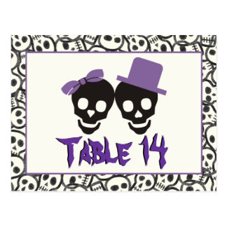 Skulls Halloween purple black wedding table number Postcard