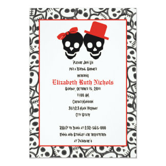 Skulls Halloween red black wedding bridal shower Card