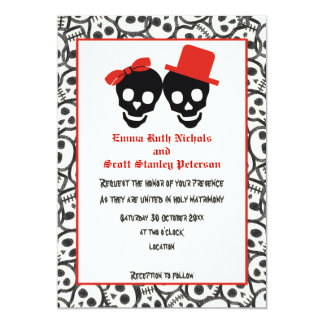 Skulls Halloween red black wedding invitation