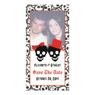 Skulls Halloween red black wedding Save the Date Card