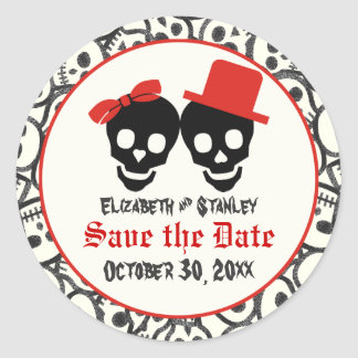 Skulls Halloween red black wedding Save the Date Classic Round Sticker