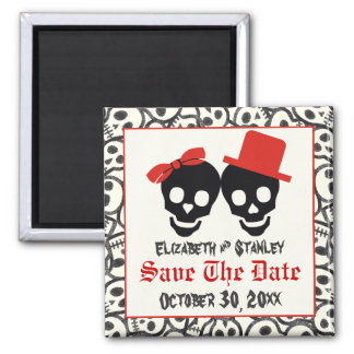 Skulls Halloween red black wedding Save the Date Magnet