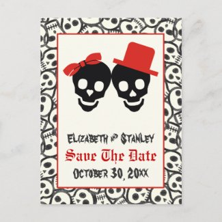 Skulls Halloween red black wedding Save the Date zazzle_postcard
