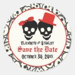 Skulls Halloween red black wedding Save the Date Round Stickers