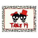 Skulls Halloween red black wedding table number Postcards
