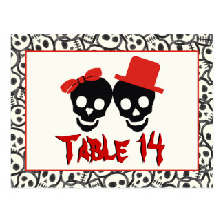 Skulls Halloween red black wedding table number Postcard