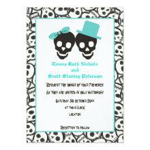Skulls Halloween turquoise wedding invitation Custom Announcement