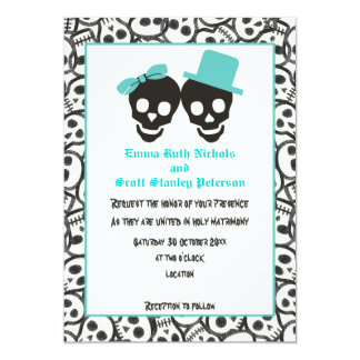Skulls Halloween turquoise wedding invitation