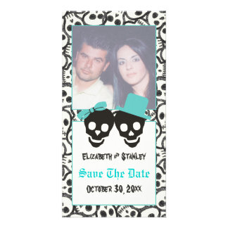 Skulls Halloween Turquoise wedding Save the Date Card