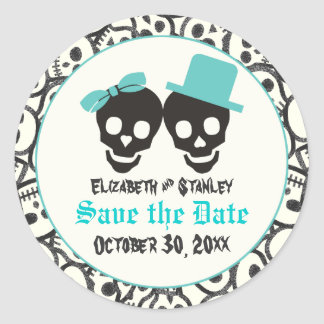 Skulls Halloween Turquoise wedding Save the Date Classic Round Sticker