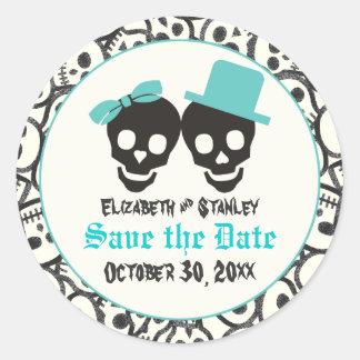 Skulls Halloween Turquoise wedding Save the Date Classic Round Sticker